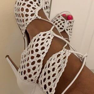 AQUAZZURA sexy white open toe heels